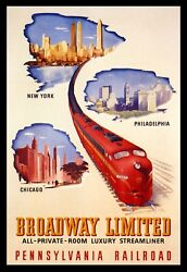 Streamliner Train Travel New York Philly Chicago Vintage Poster Repro Free S/h