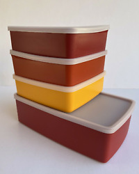 Tupperware Pak 'n Stor Rectangular Container 3 Square Round Sandwich Keepers New