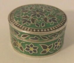 Vintage Sterling Silver Cloisonne Enamel Round Floral Pill Snuff Jewelry Box