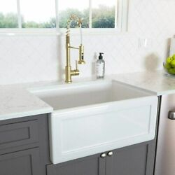 Lordear 24 Inch Ceramic Kitchen Sink Apron Farmhouse Sink Basin Rectangular