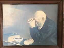 Old Man Praying Painting On Sanded Canvas 24.andrdquox19andrdquo Print-water Stain