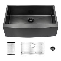 33x22 Inch Farmhouse Apron Front Kitchen Sink Gunmetal Black Stainless Steel
