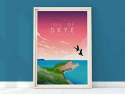 Isle Of Skye Print, Portree Poster, Scottish Islands Art Poster Home Wall Gift