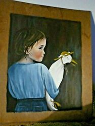 Nancy Noel Style Emma Amish Girl Holding Goose With Hat Hand Painted Picture