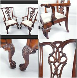 Rare Pair Of Mid 20th Century Style Carved Mahogany Armchairs Free Uk Delivery