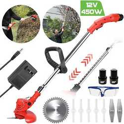Electric Grass Trimmer Weed Eater Edger Lawn Mower Cordless String Trimmer Kit