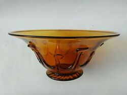 Repro South Jersey Art Glass Footed Lilly Pad Bowl Liberty Craftworks Signed