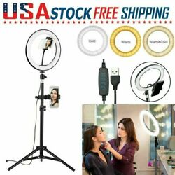 Led Video Ring-light Photography Lamp Dimmable For Youtube W/ Phone Holder D2w8