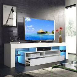 63'' Tv Stand High Gloss Unit Cabinet W/ Drawers Led Light Living Room Furniture