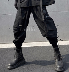 Menand039s Overall Pockets Trousers Designer Darkness Elastic Waist Jogger Motorcycle