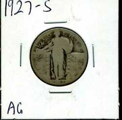 1927-s 25c Standing Liberty Quarter Dollar In Ag Condition 00756