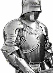 Steel Armor Full Body Set Shoulders Ches And Leg Pad With Helmet And Chainmail