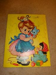 Vintage 1960's Little Girl And Toys Frame Tray Puzzle Built-rite