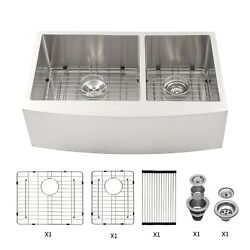 36 Inch Stainless Steel Farmhouse Kitchen Sink Apron Sink Double Bowl 60/40
