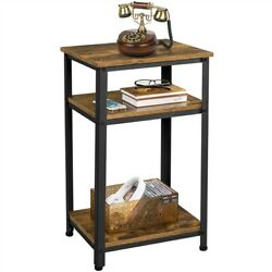 Side Table Rustic Industrial End Telephone Table With 2-tier Shelves