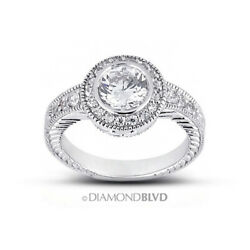 1.10 Ct E/vs2 Round Natural Diamonds 18k Gold Vintage Style Engagement Ring