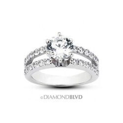 0.84ct Tw F/vs2 Round Cut Earth Mined Certified Diamonds Platinum Accent Ring