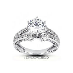 1.86 Ct H/si2 Round Natural Diamonds 18k Gold Vintage Style Accent Ring