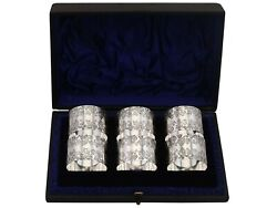 Antique Victorian Sterling Silver Numbered Napkin Rings Set Of Six 1897