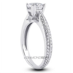 0.59 Ct F Vs2 Round Natural Diamonds 18k Gold Vintage Style Accent Ring