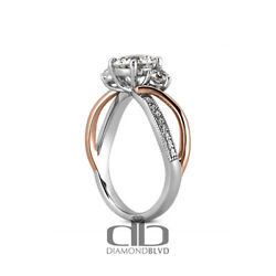 1.09ct Tw F/vs2 Round Cut Earth Mined Certified Diamonds 14k Gold Accent Ring