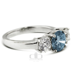1.43ct Tw Blue Si1 Round Natural Certified Diamonds Plat Classic Engagement Ring