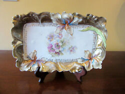 Antique S And T, Rs Prussia German Vanity Tray Embossed Iris Flowers And Handles