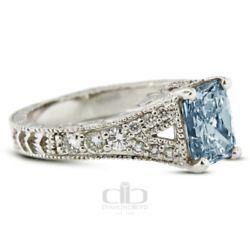 1.60 Ct Blue Si2 Radiant Natural Diamonds 18k Vintage Style Side Stone Ring
