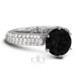 4.37ct Tw Black Round Cut Earth Mined Certified Diamonds 18k Gold Accent Ring