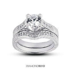 1.17 Ct F/si2 Round Natural Diamonds 14k Vintage Style Ring With Wedding Band