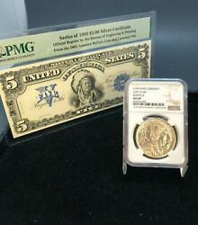 2001-d Buffalo Silver Dollar Ngc Ms69 With Pmg 1899 5 Silver Certificate