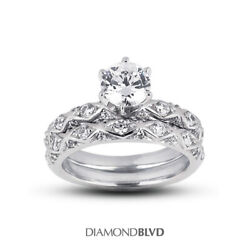 0.73 Ct F Vs2 Round Natural Diamonds Plat Vintage Style Ring With Wedding Band