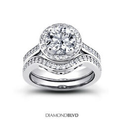 1.03 Ct G Si1 Round Earth Mined Certified Diamonds 18k Halo Engagement Ring Set