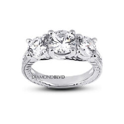 1.40 Ct G/si1 Round Natural Diamonds 18k Gold Vintage Style 3-stone Ring