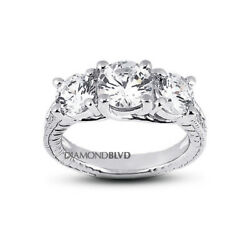 1.75 Ct E Si3 Round Natural Diamonds 18k Gold Vintage Style Engagement Ring