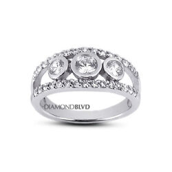 1.61 Ct F/vs2 Round Natural Diamonds 18k Gold Vintage Style 3-stone Ring