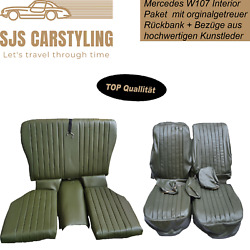 Seat Covers + Back Seat Foldable Dark Green For Mercedes Sl R/w107