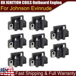 8x Ignition Coils 582508 For Johnson Evinrude 18-5179 183-2508 Outboard Engine