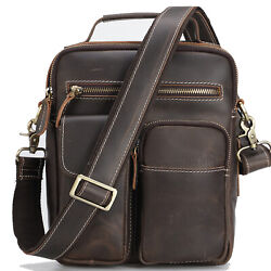 Full Grain Leather Messenger Shoulder Bag for Men Hiking Crossbody Bag Schoolbag $73.00
