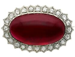 Antique 33.88ct Garnet And 1.92ct Diamond 14ct Yellow Gold Silver Set Brooch