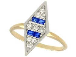 Antique 0.20ct Sapphire And 0.31ct Diamond 14ct Yellow Gold Dress Ring 1930s