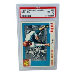 Mel Hein Rookie Card Rc 1955 Topps All American 28 Psa 8 Giants Hof Non Auto Sp