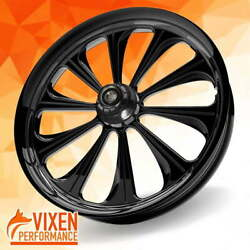 23 X 3.75 Lustrous Wheel And Front Tire - Black - 2000-2020 Harley Touring Bagger