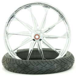 Launch Chrome 23 X 3.75 Front Wheel And Tire - 2000-2020 Harley Touring Softail