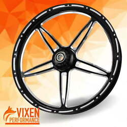 26 X 3.75 Vibrance Contrast Wheel And Front Tire - Black - 00-19 Harley Touring