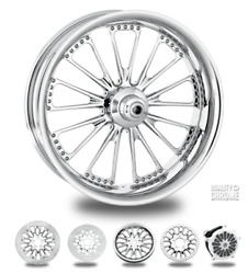 Performance Machine Domino Chrome 23 Front Wheel Only 00-07 Bagger Dom233w07bag