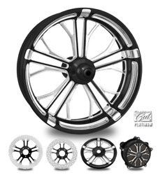 Dixon Contrast Cut Platinum 26 Front Wheel Tire Package 13 Rotor 08-19 Bagger