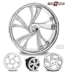 Cruise Chrome 18 Fat Front Wheel Single Disk W/ Forks And Caliper 00-07 Bagger