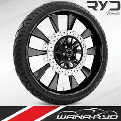 Ryd Wheels Diode Blackline 21 Front Wheel Tire Package Dual Rotors 00-07 Bagger