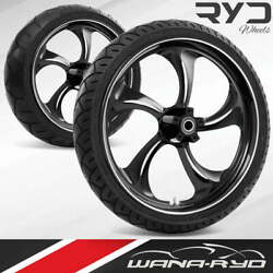 Ryd Wheels Rollin Starkline 21 Front And Rear Wheels Tires Package 00-07 Bagger